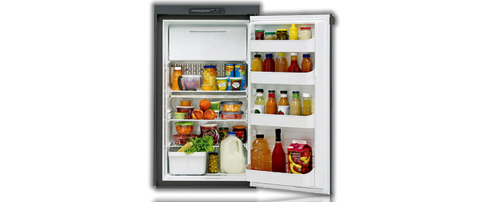 Dometic RM2555 3 Way Fridge Freezer. 150L 12V/230V/Gas  							 <br>•Automatic Energy Selection (AES). This feature allows the refrigerator to automatically select the best energy source available.  							 <br>•Wide metal mounting flanges for built-in application .  							 <br>•Top mounted controls.Adjustable, removable door racks.  							 <br>•Internal accessories: Food shelves x 3, Door shelves x 4, Ice tray  							 <br>•Door handle lock. 							 <br>•Total capacity: 150L, Fridge capacity: 135L, Freezer capacity: 15L 							 <br>•Overall dimensions (mm): 632W x 627D x 1104H  							 <br>•Recess required (mm): 602W x 610D x 1083H  							 <br>•Input voltage options: 12V or 230V  							 <br>•Average power consumption (avg): 175W when running on electric mode, Gas consumption: 395g/24hrs 							 <br>•Weight: 44kg 							 <br>Notes:  							 <br>•A flue kit is needed with this fridge.  							 <br>•Required Vents: 2 X Large Fridge Vent OR Large Fridge Vent + Fridge Roof Vent  							 <br>•Comes with a door hinge reversal kit should you want to swap hinging to the left 							<br>$2350.00